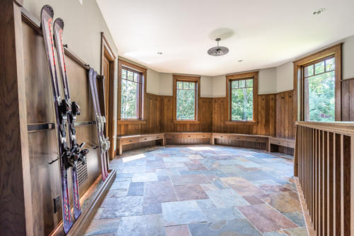 17 winter mudroom - Storage for skis and boards